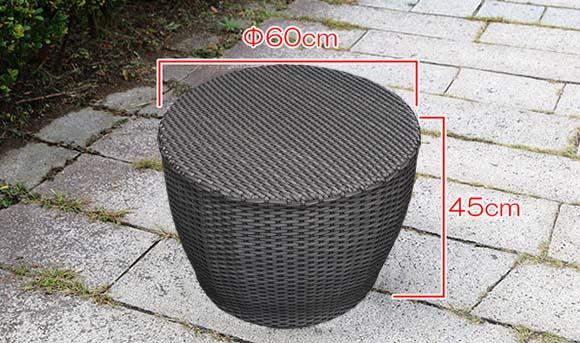 ラタンサイドテーブル60サイズ表