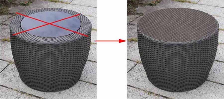 ラタンサイドテーブル60デザイン変更
