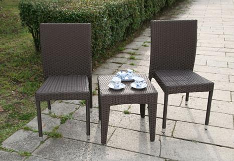 ラタンサイドテーブル45/ガーデンチェアチェア×2