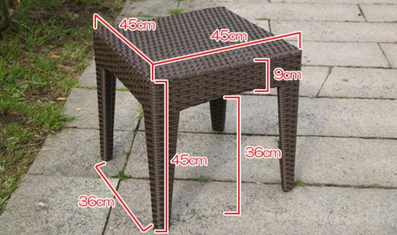 ラタンサイドテーブル45サイズ表