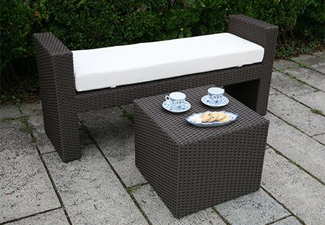 ラタンサイドテーブルキューブ/ガーデンベンチ