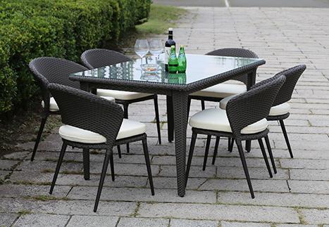ラタンスクエアテーブル150/オーバルチェア×6