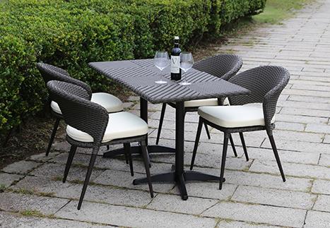 ラタンスクエアテーブル70×2/オーバルチェア×4