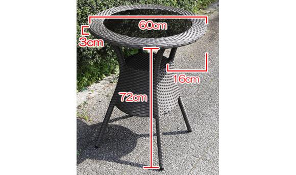 ラタンテーブル60サイズ表