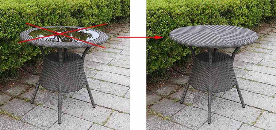 ラタンテーブル80デザイン変更